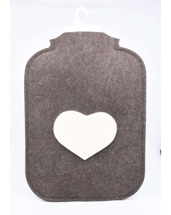 Hot water bottle cover made of Haunold fulled felt, brown with white heart at the front