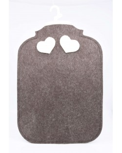 Hot water bottle cover made of Haunold fulled felt, brown with two white hearts at the back
