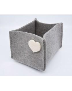 Haunold Filzbox aus feiner Merinowolle, grau mit weißem Dekoherz