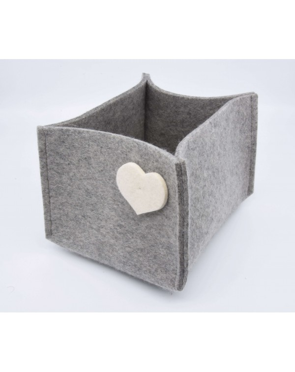 Haunold felt container of fine merino wool, grey with white hearts