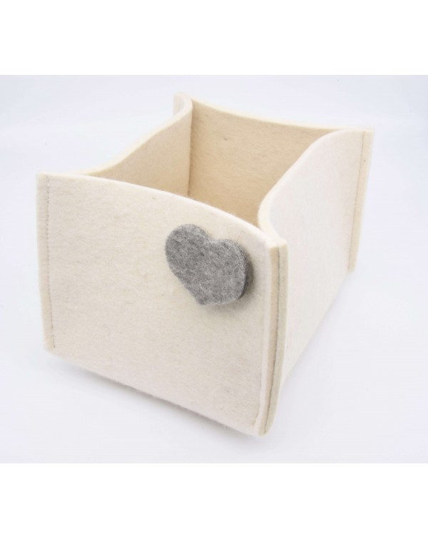 Haunold felt container of fine merino wool, wool white with grey hearts