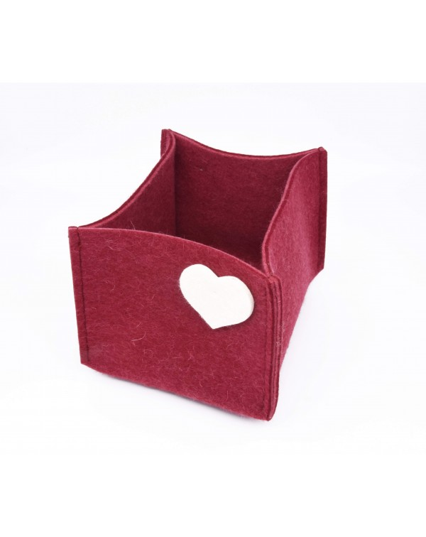 Haunold felt container of fine merino wool, red with white hearts