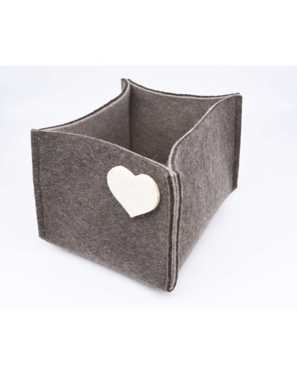 Haunold felt container of fine merino wool, brown with white hearts