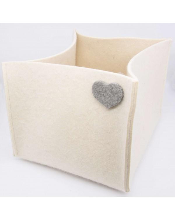 Haunold magazine holder of fine merino wool, wool white with grey hearts