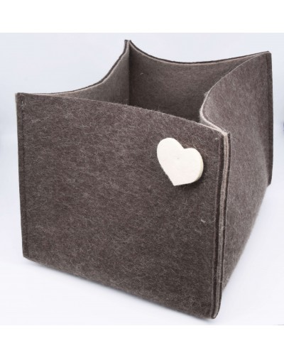 Haunold magazine holder of fine merino wool, brown with white hearts