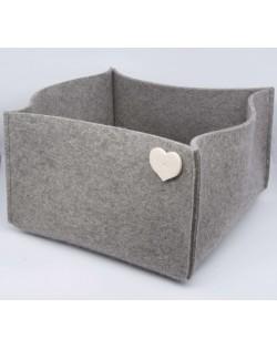 Contenitore grande Haunold in pura lana merinos, grigio con cuoricino bianco lana