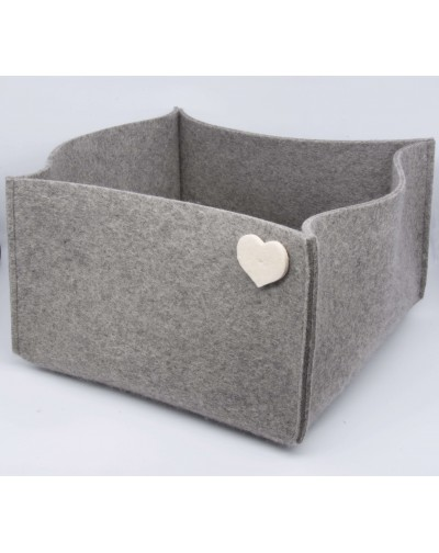 Haunold felt basket large of fine merino wool, gray with white hearts
