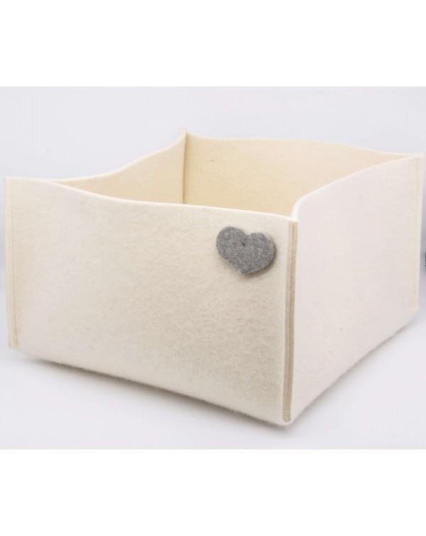 Haunold felt basket large of fine merino wool, wool white with grey hearts