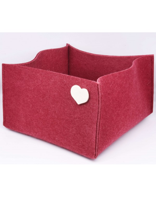 Haunold felt basket large of fine merino wool, red with white hearts