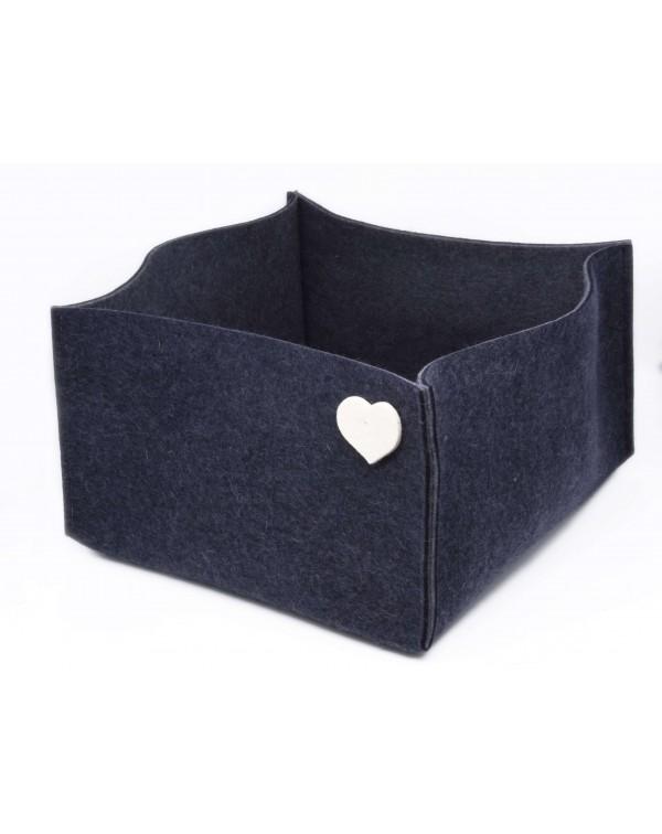 Haunold felt basket large of fine merino wool, blue with white hearts