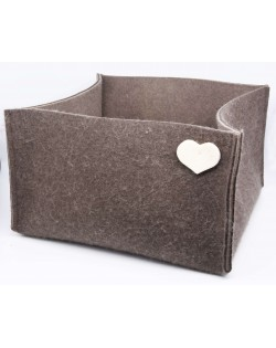 Haunold felt basket large of fine merino wool, brown with white hearts