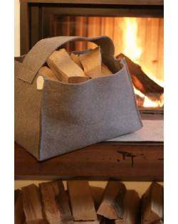 Cesto portalegna grigio in feltro follato Haunold, capiente, robusto e decorativo