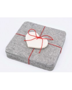 Angular glass coasters, 4 pieces of Haunold fulled felt, gray thin