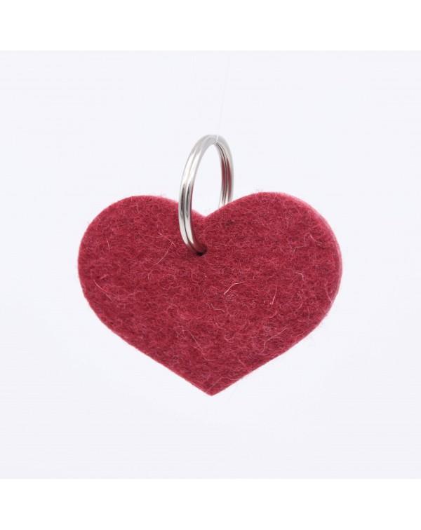 Schlüsselanhänger Herz aus Filz in rot aus reiner Wolle von Haunold